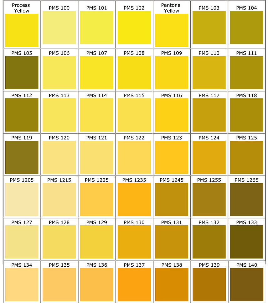 Pantone Colors Yellow Racer Ink